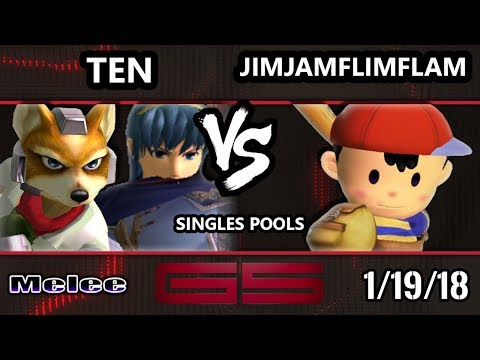 GENESIS 5 SSBM  Ten Marth, Fox VS JimJamFlimFlam Ness  Smash Melee Singles