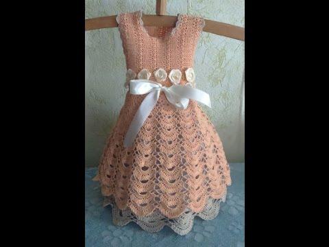 Платье крючком Волшебство для доченьки. Пряжа, схема, как вязать.