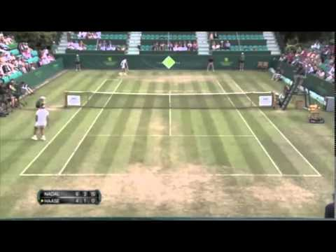 highlights of  Rafael Nadal vs Robin Haase - the Boodles exhibtion + funny interview at the end