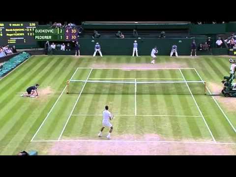 Djokovic v Federer sensational rally - Wimbledon 2014