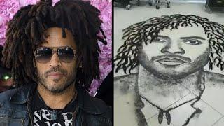 Artistic Hairdresser Draws Lenny Kravitz Using Hair Clippings