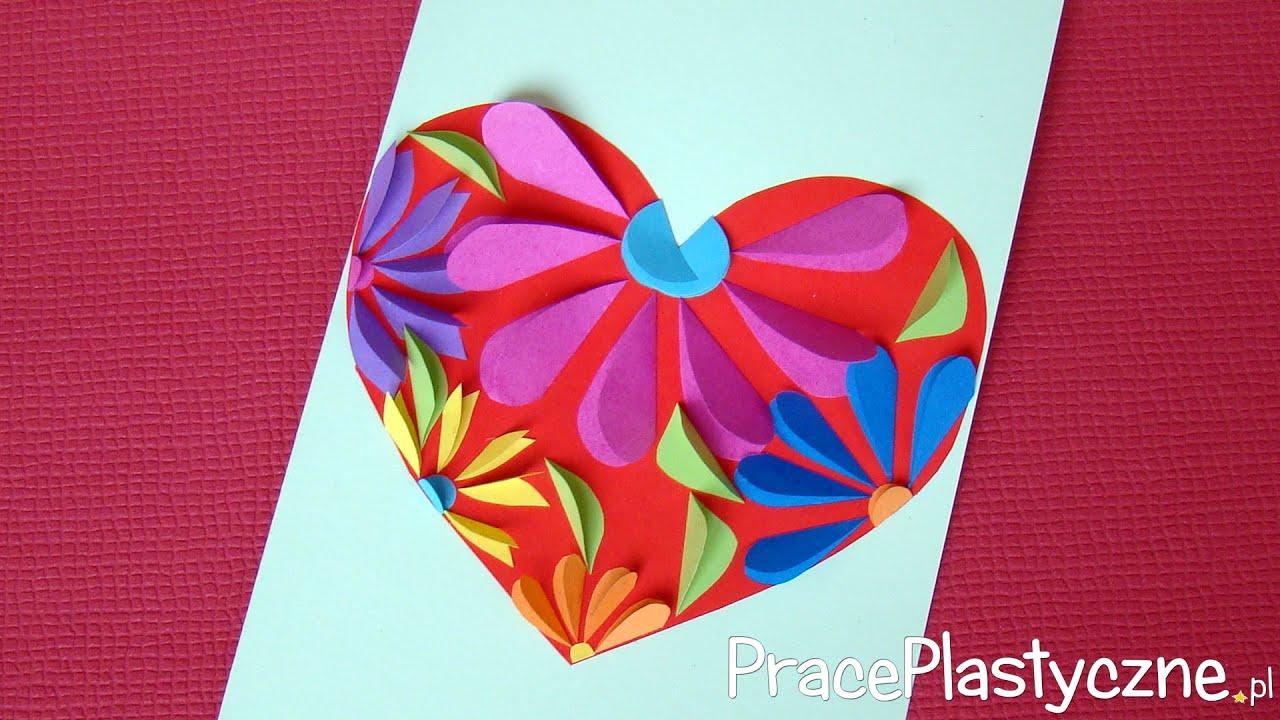 Jak zrobić laurkę na Dzień Mamy z kwiatowym sercem? - YouTube