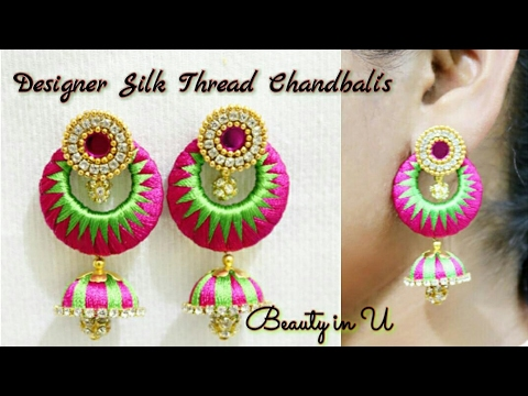 Marvelous DIY | How To Make Designer Silk Thread Earrings At Home | Model For Sale At  Www.beautyinustores.com
