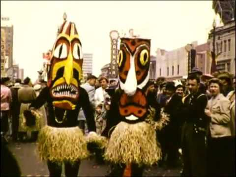 Vintage New Orleans Mardi Gras video footage from 1954