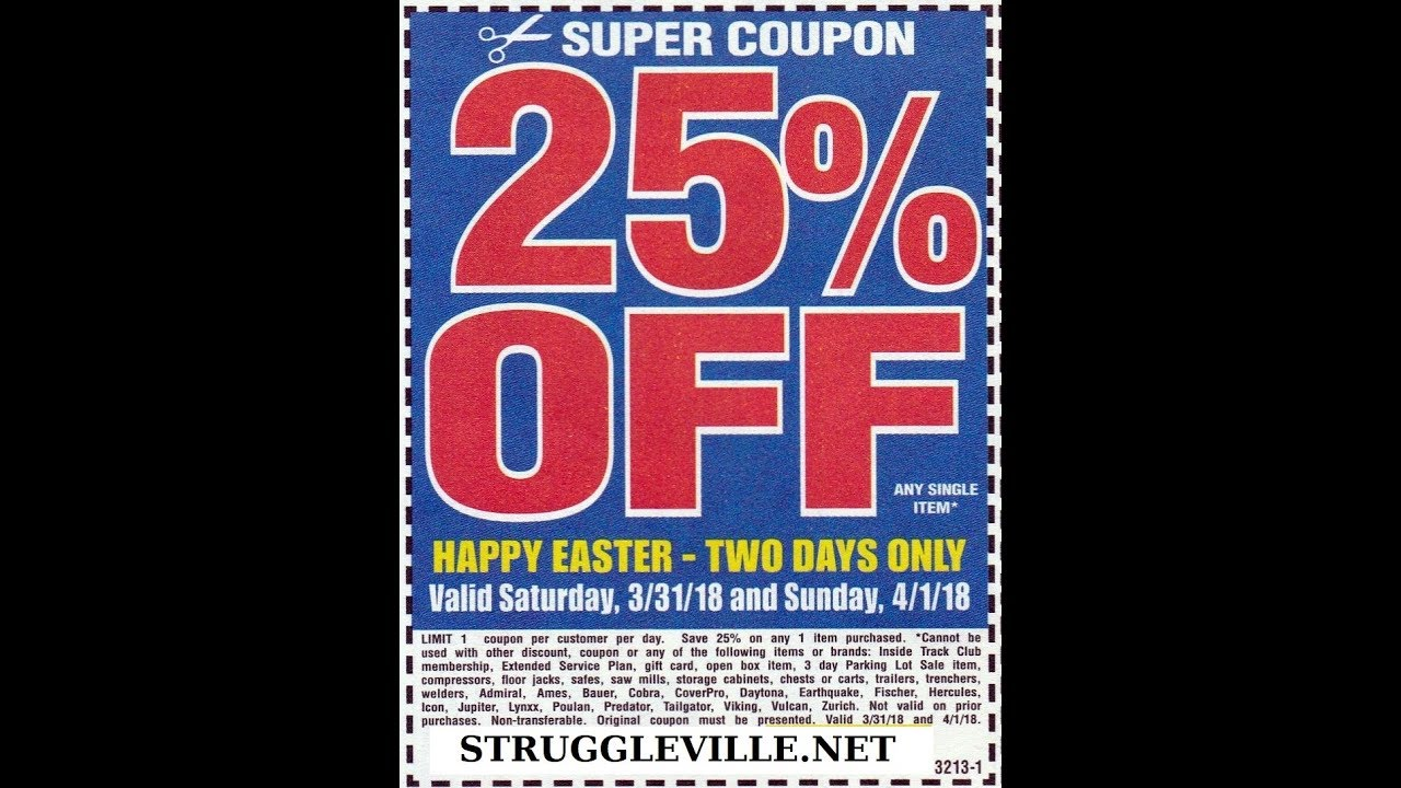 This is an image of Punchy Harbor Freight 25 Off Printable Coupon