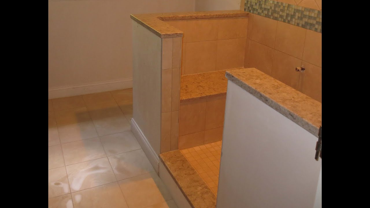 Complete tile shower install Part 5. Installing marble seat and ...