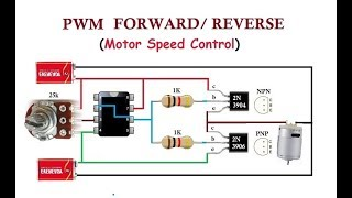 PWM with Forward and Reverse. Simple  Analogue Bi-Directional DC Motor Speed Control.