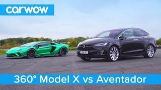 Lamborghini Aventador Vs Tesla Model X - 360° Drag & Rolling Race