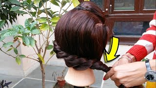 Front puff with braid || Quick & Easy Hairstyles with Puff || 1 MIN Front Puff HAIRSTYLE Thin Hairs