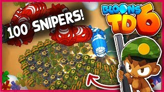 CRAZY *100 SNIPER MONKEYS* in Bloons TD 6!! | BTD 6 HACKS!