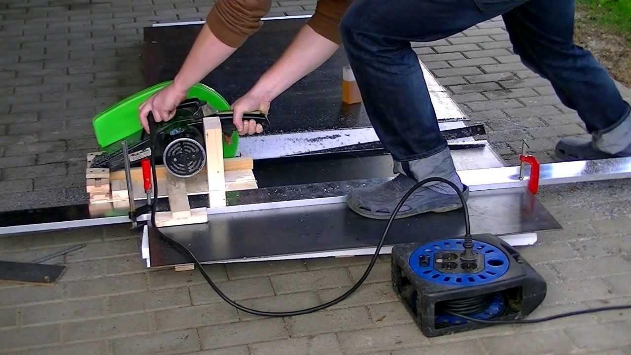 Steel Saw Prototype Improvised Track Saw Eigenbau Stahlsage Youtube