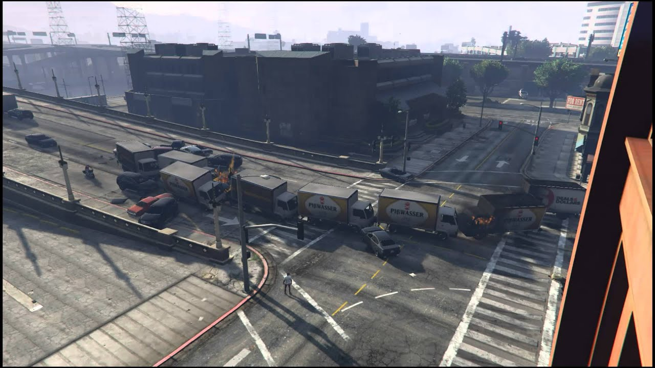 grand theft auto v traffic chaos pileup explosion youtube. Black Bedroom Furniture Sets. Home Design Ideas