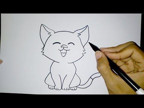Cara Menggambar Kucing Lucu Sederhana How To Draw A Cat Easy Youtube