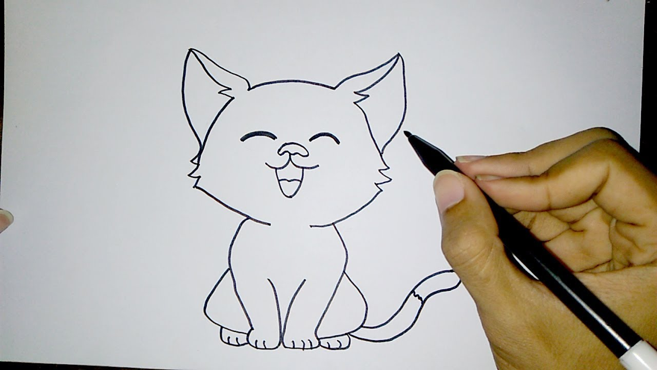 Cara Menggambar Kucing Lucu Sederhana How To Draw A Cat Easy Youtube