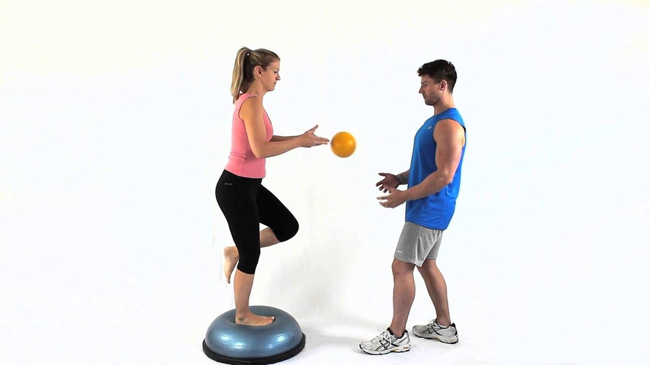 Bosu Balance One Leg Catching Ball Youtube