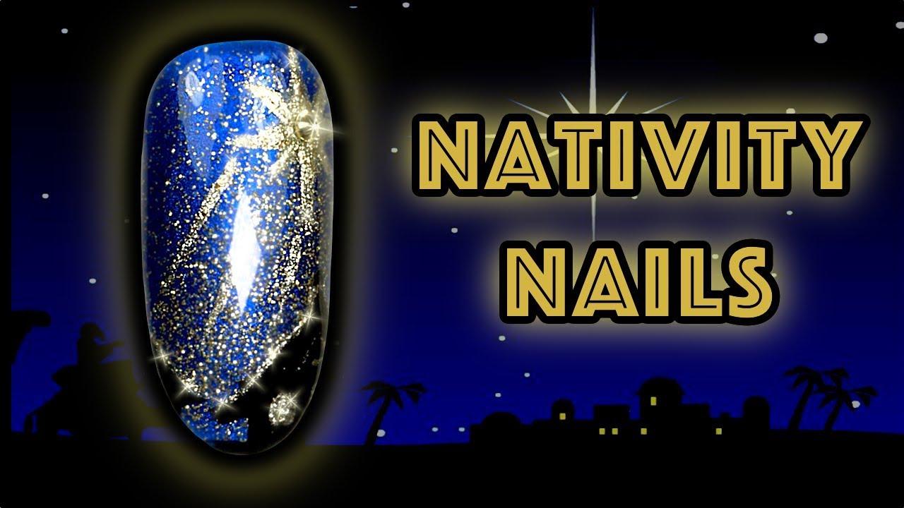 HOW TO PAINT NATIVITY NORTH STAR NAILS | CHRISTMAS NIGHT SKY NAIL ...
