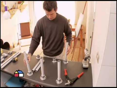 C mo hacer un estante con tubos de aluminio youtube for Zapatera de aluminio