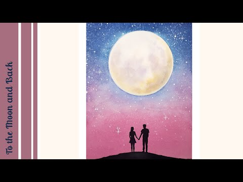WATERCOLOR PAINTING | Cotton Candy Sky | To the Moon and Back ❤