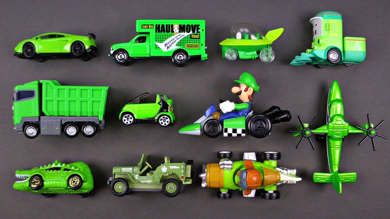 Toy Car Racing >> Learning Green Street Vehicles for Kids - Hot Wheels, Matchbox, Tomica トミカ Cars and Trucks, Tayo ...