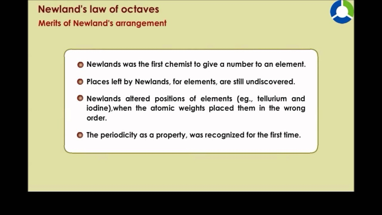 Newlands Law Of Octaves Youtube