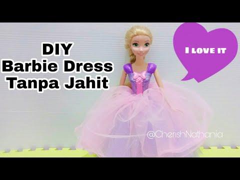 Cara Membuat Baju Barbie Tanpa diJahit 😘 Gaun Pesta Rapunzel DIY Barbie Clothes Dress Without Sew