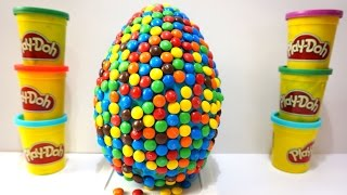 Rainbow Surprise Eggs Giant Candy with Minnie Learn and Fun