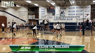 IEMG Sports Weekly SOCCER, VOLLEYBALL, WATER POLO: SBVC Soccer, Cajon vs. Redlands Volleyball
