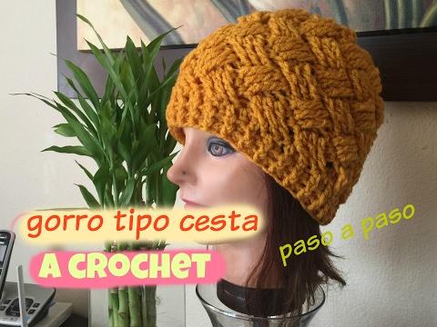 Gorro Tejido A Crochet Cruzado Tipo Cesta
