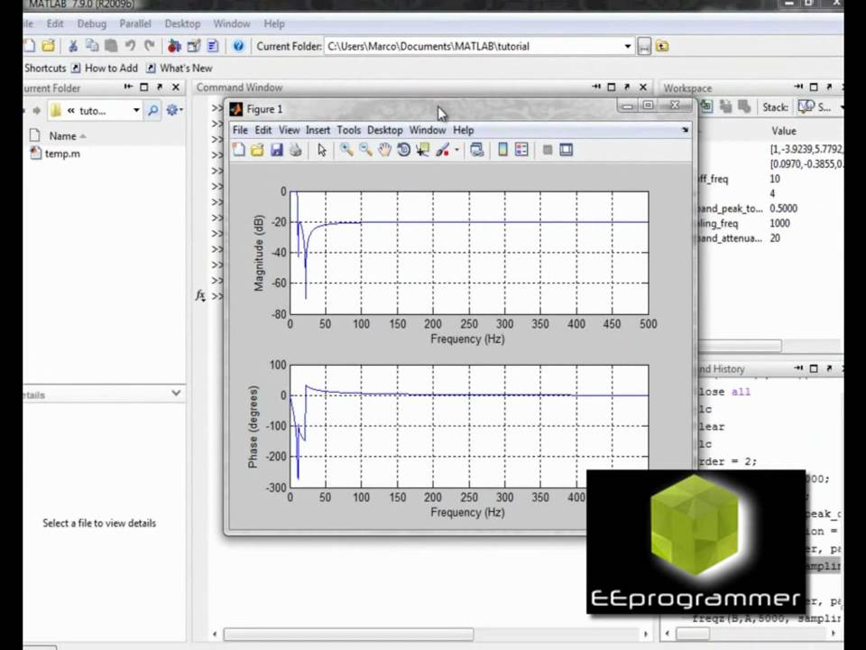 MATLAB Tutorial - create and apply a low pass filter (Elliptic filter)