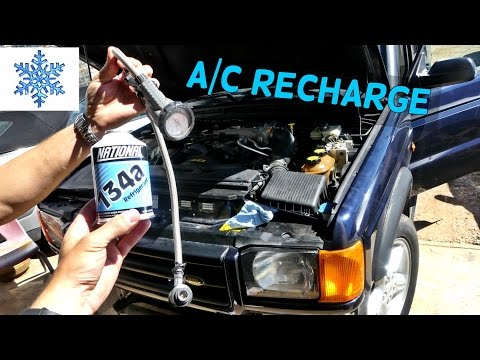 HOW TO REFILL RECHAR A/C COMPRESSOR ON LAND ROVER DISCOVERY AIR CONDITIONER
