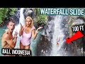 World LARGEST Natural WATERFALL SLIDE in Bali  *ALMOST DIED*