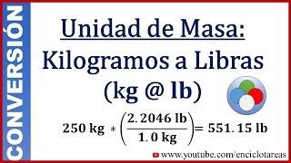 Convertir de Kilogramos a Libras (kg a libras)