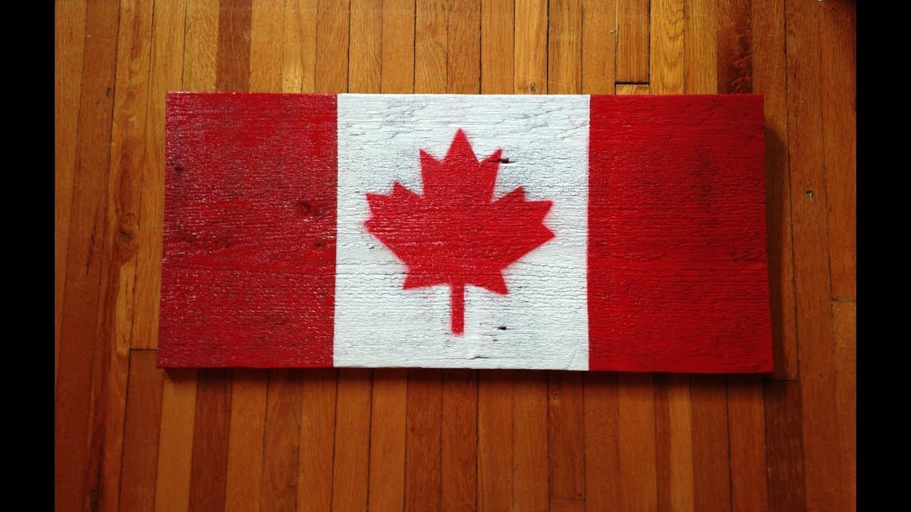 Rustic Barn Wood Flag Canada 150