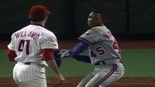 Pedro Martinez gets plunked and charges the mound thumbnail