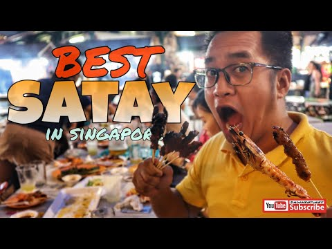 SINGAPORE BEST SATAY And  BBQ GRILLED PRAWN | LAU PA SAT FOOD CENTRE | WHERE TO EAT IN SINGAPORE