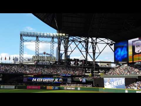 Unveiling Ken Griffey Jr retired jersey number 24 at Safeco Field 8/6/16