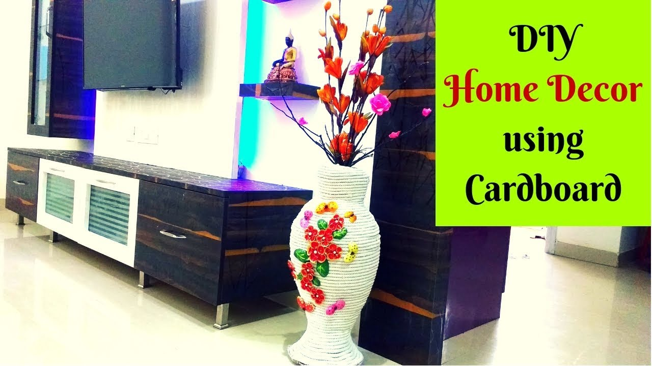 DIY Tall Vase Using Cardboard Easy Home Decor Craft Best Out Of Waste The Queen Bee Paradise