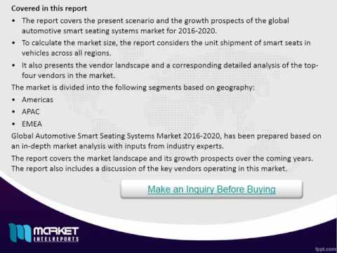 Global Automotive Smart Seating Systems Market to grow at a CAGR of 8.59% by 2020