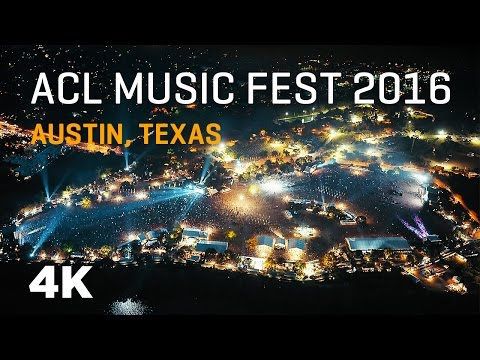 ACL Fest 2016 4K - Austin City Limits Music Festival Night Flight @ 2000 ft.