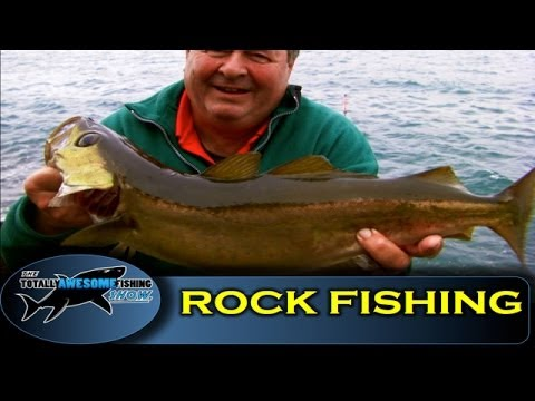 Rock fishing for Pollack with soft plastic lures - Totally Awesome Fishing Show