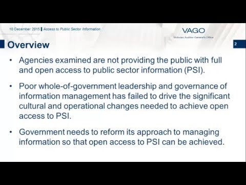 VAGO - Access to Public Sector Information