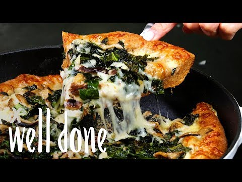 Kale & Mushroom Pizza Made In A Skillet