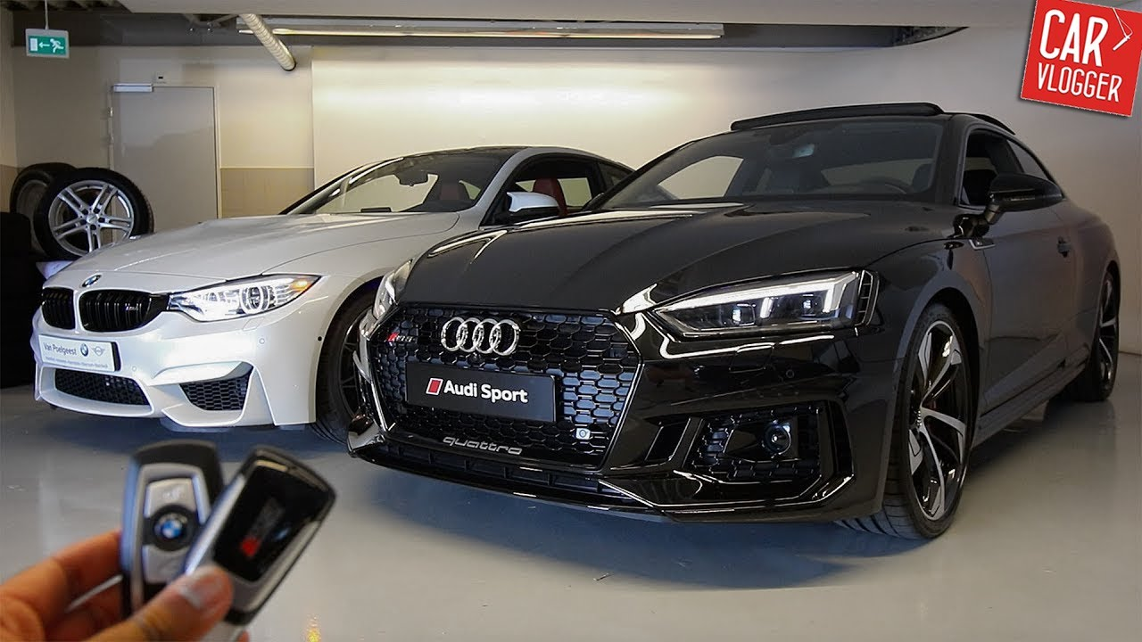 side by side the new audi rs5 vs bmw m4 competition package youtube. Black Bedroom Furniture Sets. Home Design Ideas