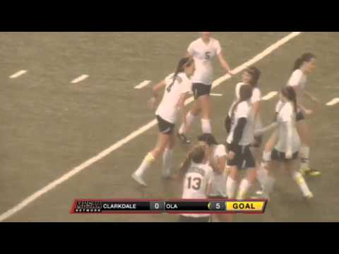 Our Lady Academy's Ashleigh Hoda scores on a tap-in completing the hat trick