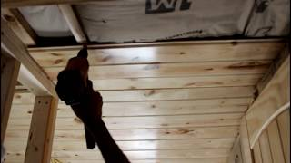 Off Grid Cabin Build | Tongue and Groove KNOTTY PINE Ceiling | Episode 22