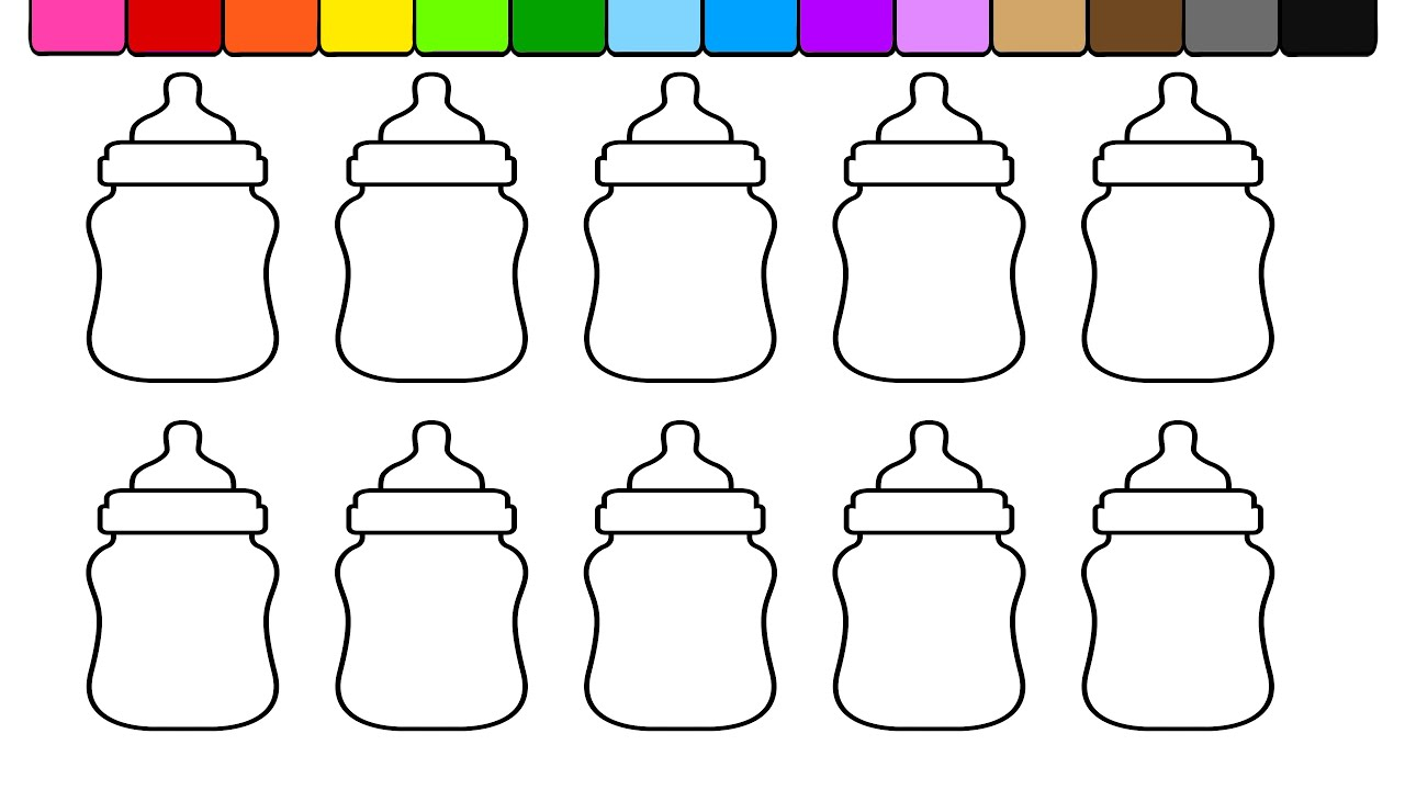 Learn Colors for Kids and Color Baby Bottle Coloring Page 💜 (4K ...
