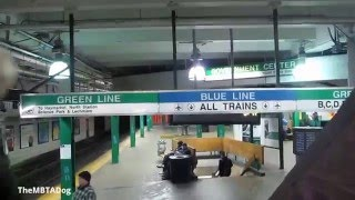 TheMBTADog: MBTA Government Center - Waiting for Green Line, with Guitar Performer (2014-02-18)