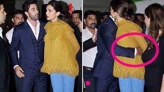 Deepika Padukone unfortable and dont hug back ex bf Ranbir Kapoor  Offscreen of Stars