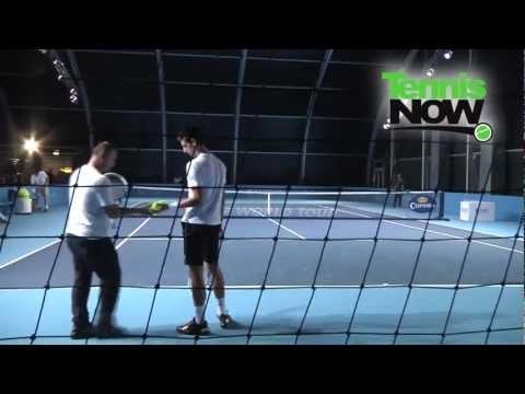 Novak Djokovic Practicing at the 2011 ATP World Tour Finals Day 3