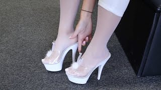 Catie Tries Out Pleaser KISS-201Bunny White 6 Inch High Heel Mule Slide On Shoes with Test Walking